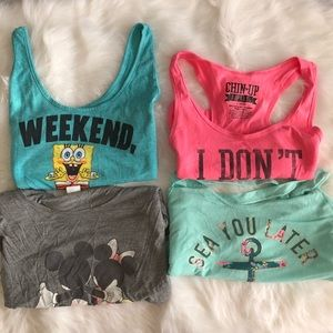 Bundle of 3 cute tank tops & 1 Mickey Mouse shirt